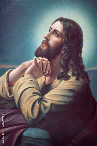 The prayer of Jesus in the Gethsemane garden. - 68609789