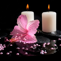 Beautiful spa concept  of pink hibiscus, candles, zen stones wit