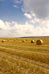 straw bales and blue sky