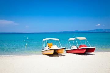Beautiful Hanioti beach on Kasandra,  Greece.