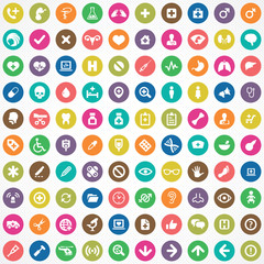 100 Medical icons.
