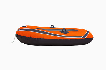 Inflatable boat for rescue at sea on white background