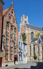 Bruges - St. Salvator's Cathedral and gothic houses