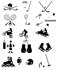 A set of sports icons arranged in a simple silhouette style