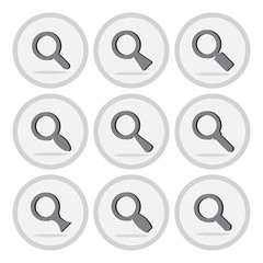 Vector of flat icon, magnifying glass set on isolated background