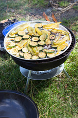 Grilled paprika and zucchini