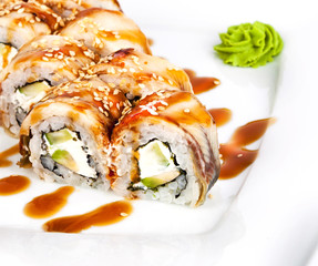 roll with eel on a plate