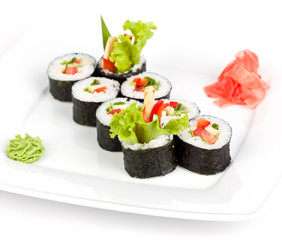 vegetarian roll with cucumber and pepper