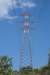 Colorful electricity pylon