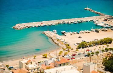 Karlovasi marina and beach, Samos, Greece.