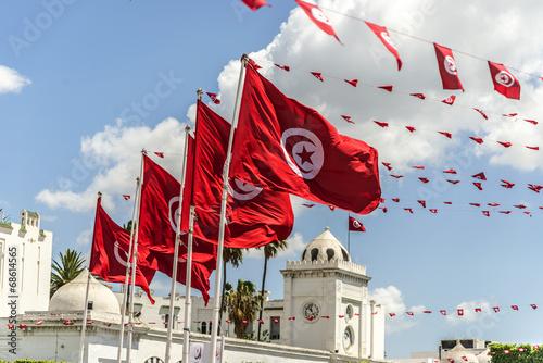 In de dag Tunesië BanderasTunez