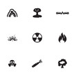 Vector black disaster icons set - 68614958