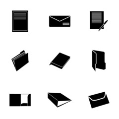 Vector black document icons set