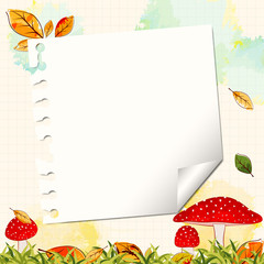 Colorful Autumn Background with Note Paper