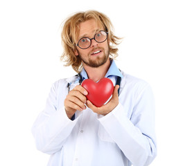 Funny doctor in glasses holding heart isolated on white