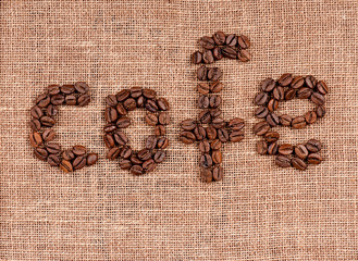 Text of coffee beans