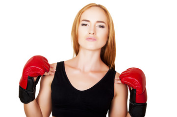 beautiful woman with the red boxing gloves