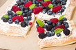 Berry tart cut into squares