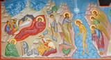 Bruges - Fresco of Nativity scene and Baptism of Christ