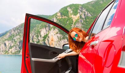 Traveler girl in red