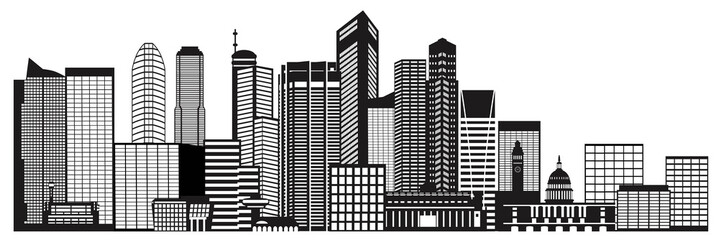 Singapore City Skyline Black and White Vector Illustration