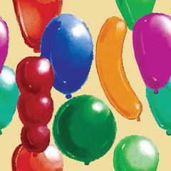 Watercolor pattern. Balloons