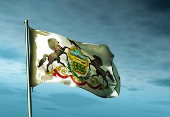Pennsylvania (USA) flag waving on the wind