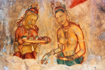 frescoes at the ancient rock fortress of Sigiriya in Sri Lanka