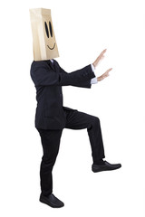 Anonymous businessman finding a way