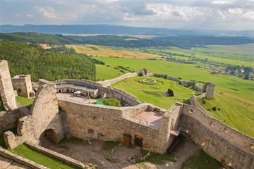 Spissky castle - Look from tower to south and courtyards