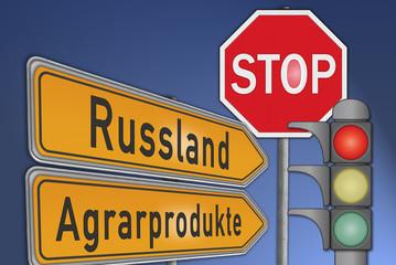 Schilder Russland Agrarimporte, Stop