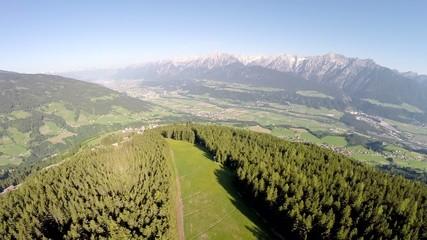 Flight over Mountain Forrest - Aerial Flight