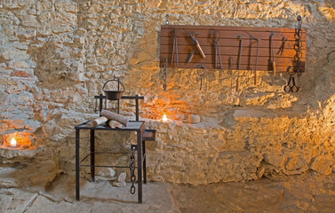 Spisky castle - The torture tools from oubliette of the castle.