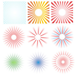 Colorful striped elements on white background, illustration