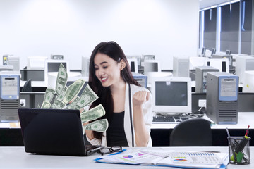 Cheerful businessman gets increase income