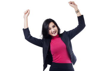 Closeup of excited asian businesswoman