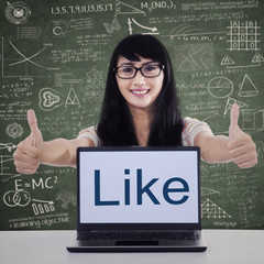 College student showing like button