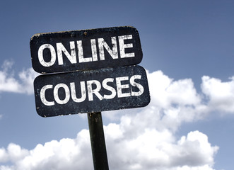 Online Courses sign with clouds and sky