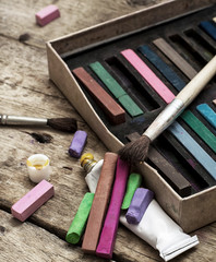 color paints,crayons and pencils