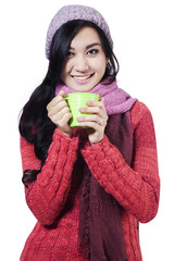 Pretty woman wearing winter jacket 2