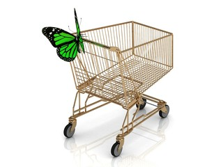 Shopping gold trolley in high definition and green butterfly