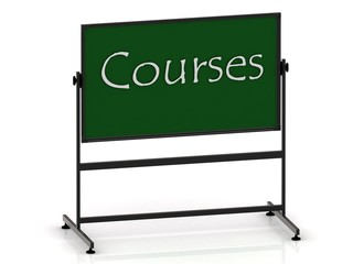 Courses inscription on a green chalkboard