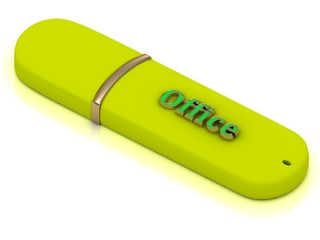 Office - inscription on yellow USB flash