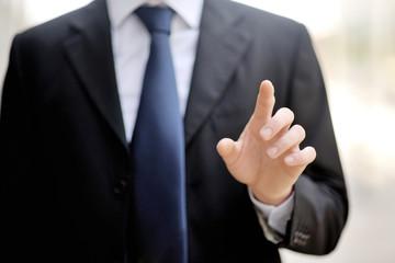 businessman man pushing virtual screen technology concept