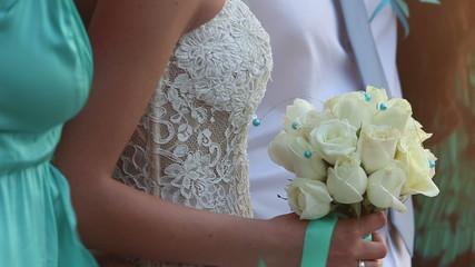 bride in lace slinky slender white dress