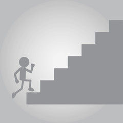 Flat Man Running on up stair of Challenge
