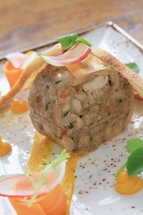 rabbit  chicken terrine plated meal