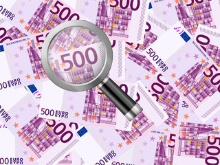 magnifier on five hundred euro background