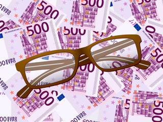 reading glasses on five hundred euro background