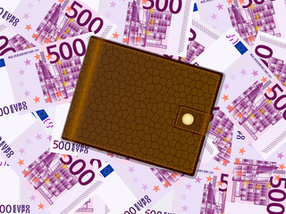 wallet on five hundred euro background